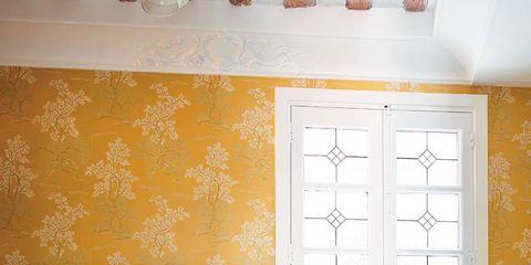 Room, Floor, Interior design, Plumbing fixture, Yellow, Property, Architecture, Wall, Tile, Flooring,