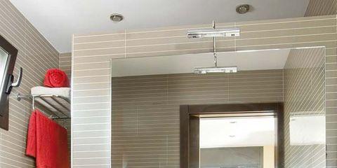 Room, Interior design, Red, Ceiling, Wall, Interior design, Plumbing fixture, Cabinetry, Light fixture, Countertop,