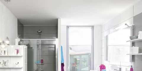 Floor, Room, Interior design, Flooring, White, Shelving, Pink, Wall, Tile, Home,