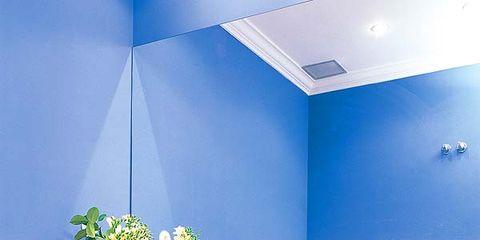 Blue, Room, Interior design, Wall, Floor, Ceiling, Azure, Interior design, Bathroom sink, Majorelle blue,