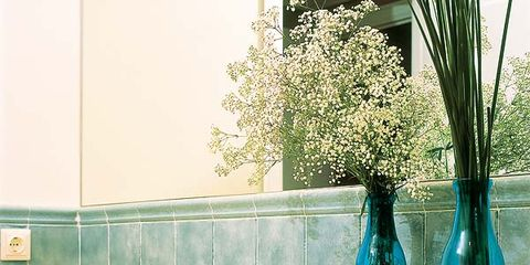 Blue, Room, Glass, Plumbing fixture, Turquoise, Teal, Tap, Interior design, Cabinetry, Aqua,