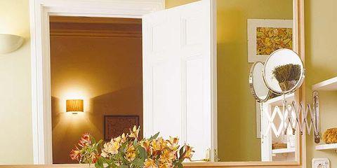 Room, Interior design, Property, Bathroom sink, Textile, Purple, Wall, Interior design, Linens, Mirror,