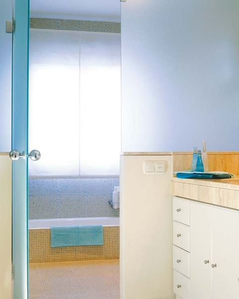 Blue, Room, Drawer, Glass, Interior design, Floor, Wall, Chest of drawers, Cabinetry, Teal,