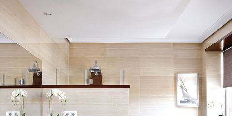 Room, Interior design, Property, Plumbing fixture, Floor, Wall, Bathroom sink, Tile, Interior design, Flooring,
