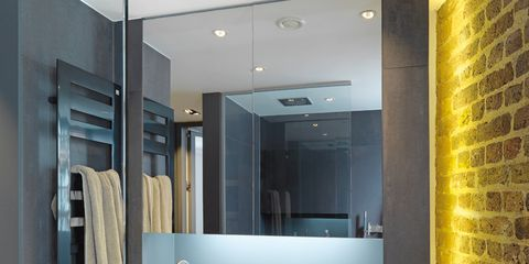 Lighting, Architecture, Property, Wall, Plumbing fixture, Bathroom sink, Interior design, Room, Glass, Mirror,