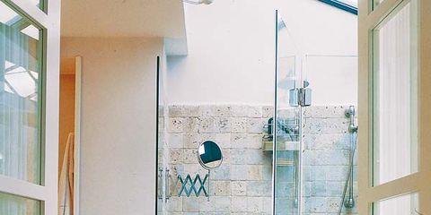 Interior design, Room, Glass, Wall, Fixture, Interior design, Teal, Turquoise, Tile, Home door,