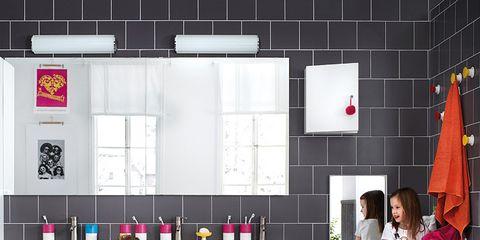 Room, Pink, Interior design, Purple, Magenta, Violet, Countertop, Cabinetry, Interior design, Kitchen,