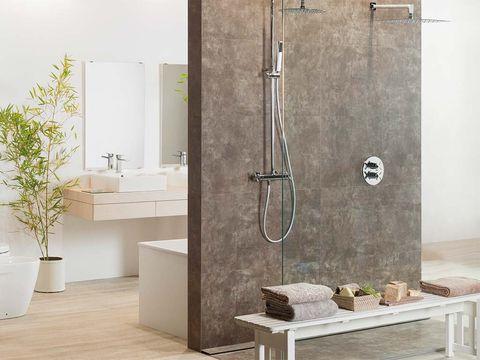 Wall, Flowerpot, Floor, Plumbing fixture, Room, Flooring, Fixture, Plumbing, Tile, Household hardware,