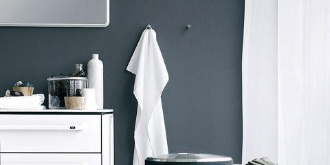 Room, Bathroom, Black-and-white, Furniture, Bathroom accessory, Material property, Floor, Interior design, Table, Shelf,