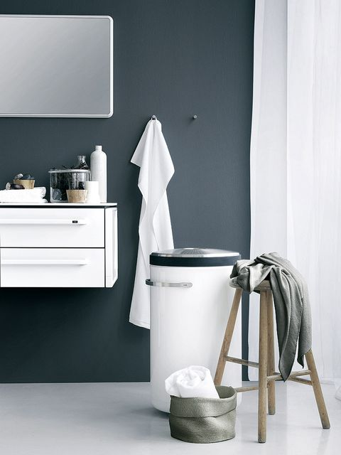 White, Room, Bathroom, Furniture, Black-and-white, Wall, Interior design, Material property, Floor, Chest of drawers,