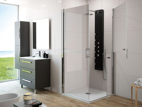 Room, Bathroom, Door, Shower door, Plumbing fixture, Shower, Automotive exterior, Furniture, Material property, Interior design,