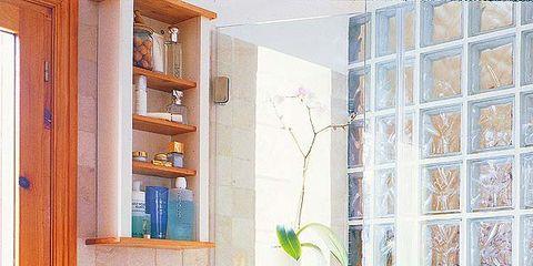 Room, Plumbing fixture, Interior design, Property, Bathroom sink, Wall, Purple, Sink, Tile, Glass,