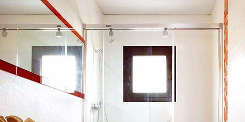Plumbing fixture, Room, Interior design, Floor, Architecture, Property, Flooring, Bathroom sink, Wall, Tile,