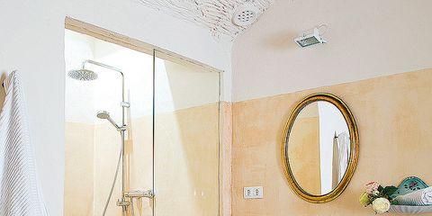 Plumbing fixture, Room, Property, Architecture, Bathroom sink, Wall, Interior design, Tile, Tap, Bathroom accessory,