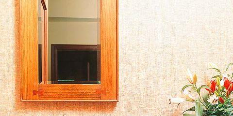 Room, Property, Flowerpot, Bathroom sink, Interior design, Wall, Plumbing fixture, Tap, Interior design, Orange,