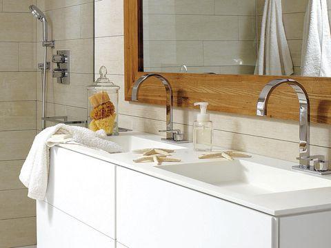 Plumbing fixture, Room, Tap, Property, Architecture, Wall, Sink, Tile, Plumbing, Bathroom accessory,