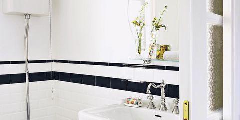 Plumbing fixture, Architecture, Room, Property, Tile, Wall, Bathroom sink, Purple, Interior design, Floor,