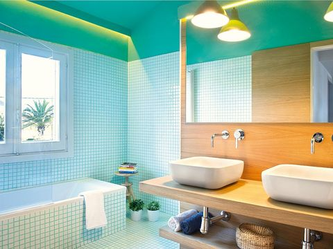 Plumbing fixture, Blue, Green, Interior design, Architecture, Room, Yellow, Property, Wall, Tile,