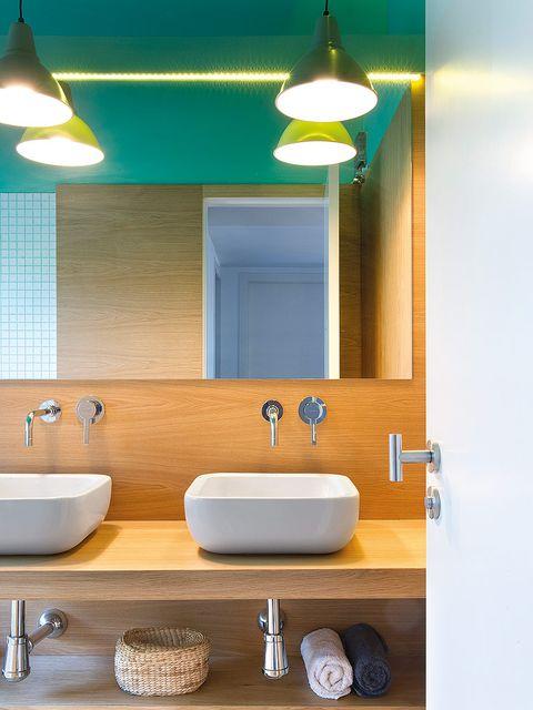 Plumbing fixture, Blue, Lighting, Bathroom sink, Interior design, Architecture, Room, Property, Tap, Wall,