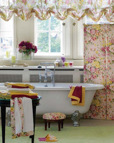 Interior design, Room, Pink, Purple, Plumbing fixture, Interior design, Wall, Tile, Window treatment, Fixture,
