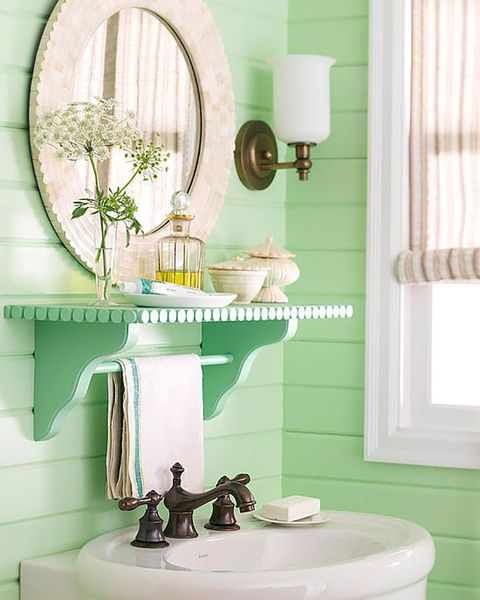 baño estilo cottage en verde