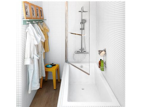 Floor, Linens, Plumbing fixture, Towel, Household supply, Tile, Clothes hanger, Plumbing, Bathroom, Window treatment,