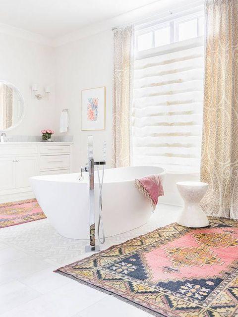 Room, Floor, Interior design, Property, Bathroom, Tile, Furniture, Pink, Bathtub, Wall,