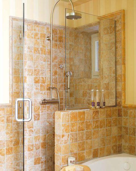 Plumbing fixture, Property, Wall, Room, Architecture, Tile, Shower head, Bathroom accessory, Interior design, Plumbing,