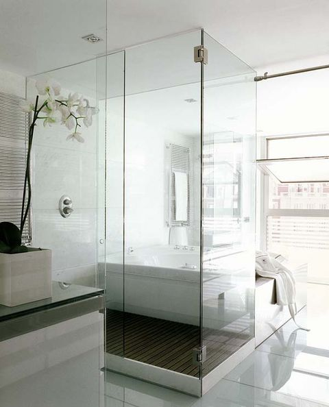 Glass, Architecture, Floor, Interior design, Ceiling, Fixture, Transparent material, Shower door, Tile, Composite material,