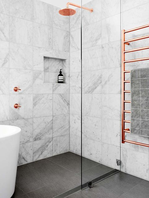 Tile, Bathroom, Room, Floor, Plumbing fixture, Wall, Architecture, Interior design, Tap, Material property,