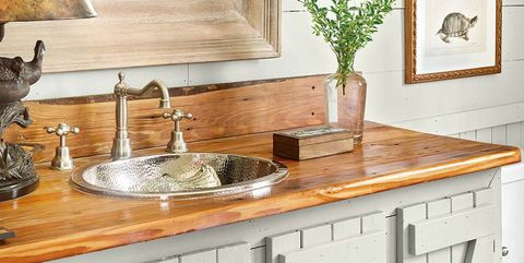 Countertop, Furniture, Room, Kitchen, Cabinetry, Interior design, Table, Tile, Material property, Wood,