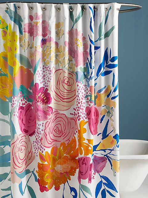 Shower curtain, Bathroom accessory, Textile, Curtain, Yellow, Aqua, Interior design, Interior design, Window treatment, Plant,