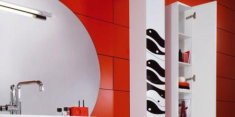 Plumbing fixture, Red, Room, Wall, Carmine, Bathroom sink, Plumbing, Bathroom accessory, Tap, Sink,