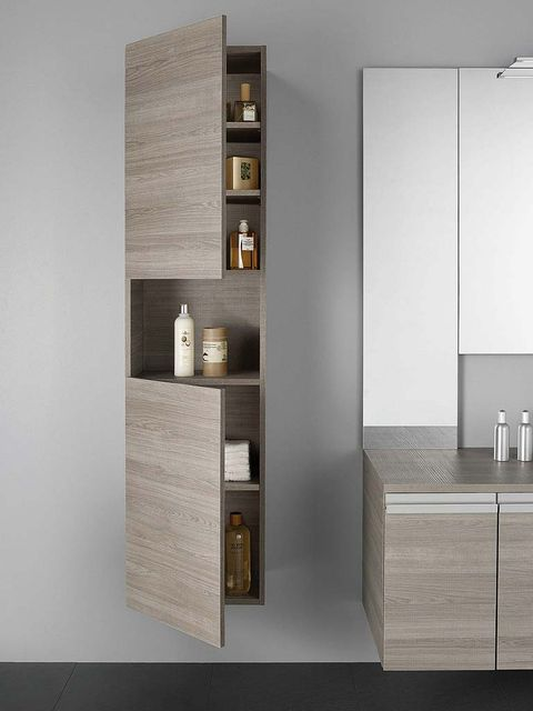Wall, Room, Interior design, Grey, Beige, Rectangle, Shelving, Plywood, Material property, Cabinetry,