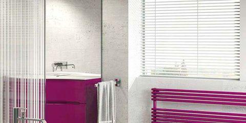Floor, Interior design, Property, Architecture, Room, Flooring, Wall, Purple, Window covering, Bathtub,
