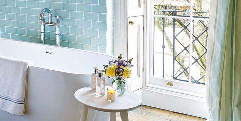 Room, Property, Bathroom, Interior design, Home, Curtain, Floor, Window, Yellow, Furniture,