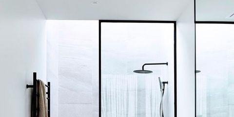 Bathroom, Room, Tap, Shower, Floor, Interior design, Property, Tile, Door, Plumbing fixture,