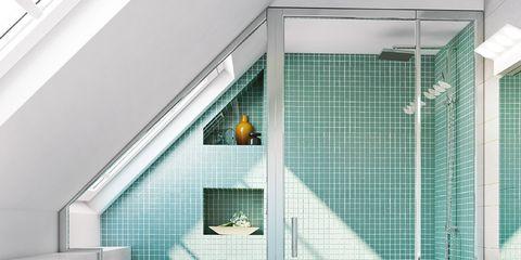 Blue, Toilet seat, Room, Architecture, Property, Interior design, Wall, Toilet, Plumbing fixture, Floor,