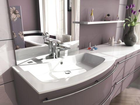 Plumbing fixture, Bathroom sink, Room, Interior design, Architecture, Tap, Flowerpot, Property, Wall, Purple,