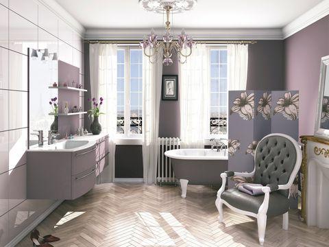 Interior design, Room, Floor, Flooring, Property, Architecture, Purple, Wall, Tile, Home,
