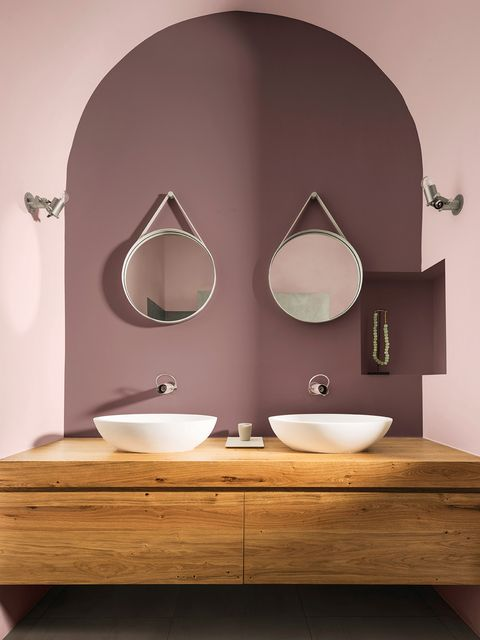 Room, Bathroom, Interior design, Property, Wall, Purple, Architecture, Sink, Material property, Bathroom sink,
