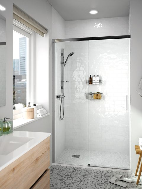 Bathroom, Room, Property, Tile, Interior design, Plumbing fixture, Shower, Floor, Tap, Door,