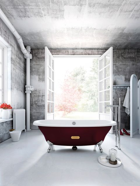 Bathtub, Bathroom, Room, Interior design, Red, Floor, Property, Wall, Architecture, Tile,