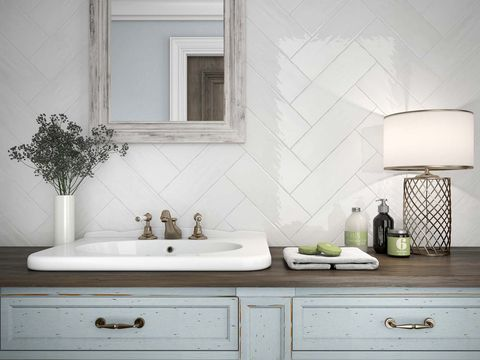 White, Sink, Room, Bathroom, Tile, Tap, Wall, Bathroom cabinet, Property, Interior design,