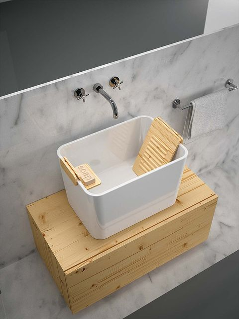 Plumbing fixture, Sink, Wood, Bathtub, Plywood, Bathroom, Room, Furniture, Rectangle, Interior design,
