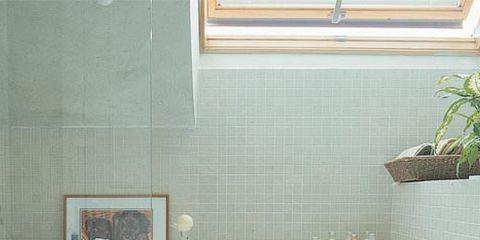 Wall, Interior design, Tile, Linens, Plumbing fixture, Interior design, Houseplant, Bathroom sink, Tablecloth, Ceramic,