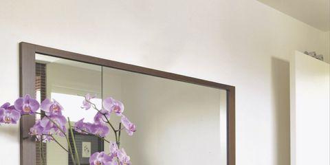 Bathroom sink, Plumbing fixture, Room, Purple, Tap, Flower, Petal, Wall, Interior design, Sink,