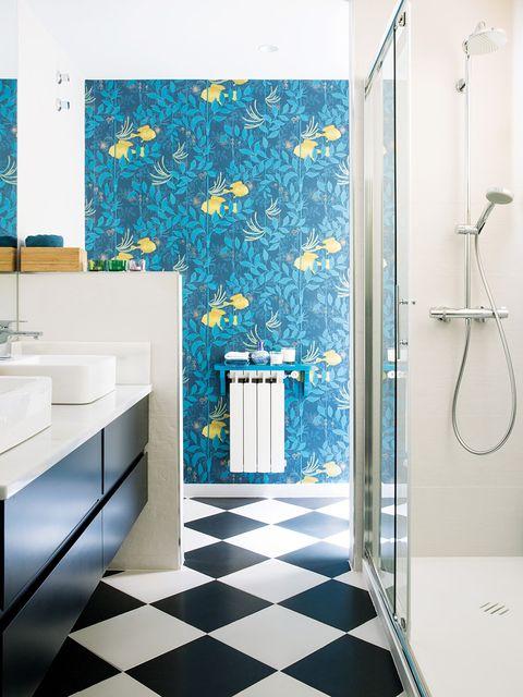Bathroom, Tile, Blue, Room, Turquoise, Floor, Property, Interior design, Wall, Yellow,