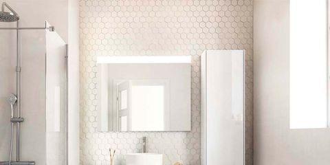 Architecture, Plumbing fixture, Room, Floor, Interior design, Property, Flooring, Wall, Tile, Bathroom accessory,