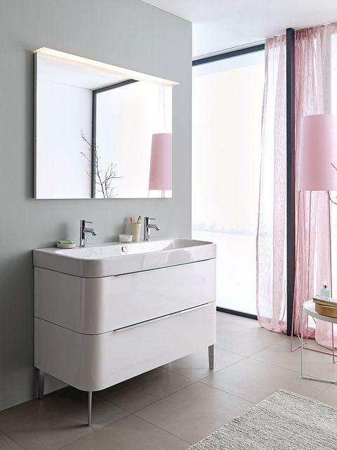 Room, Interior design, Architecture, Floor, Bathroom sink, Property, Plumbing fixture, Wall, Flooring, Tap,